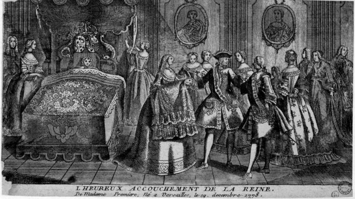 صورة لملكة فرنسا ماري أنطوانيت سنة 1778 عقب عملية ولادة ابنتها والتي جرت بحضور المئات