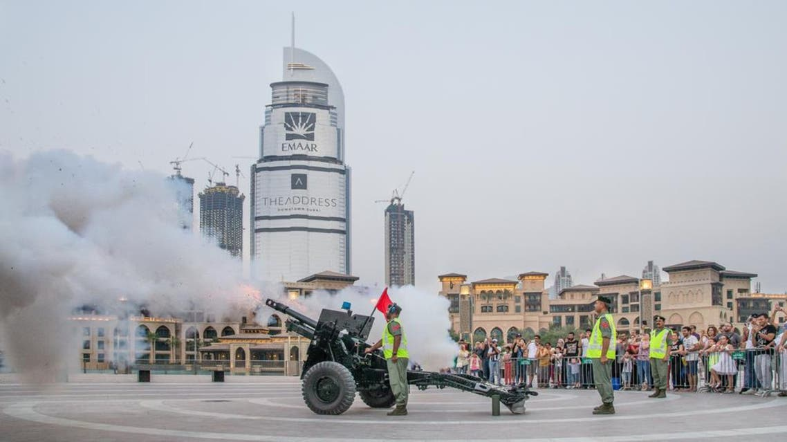 DUBAI, UNITED ARAB EMIRATES - 4TH JULY 2016: Cannon gets fired at sunset during a month of ramadan. (Shutterstock)