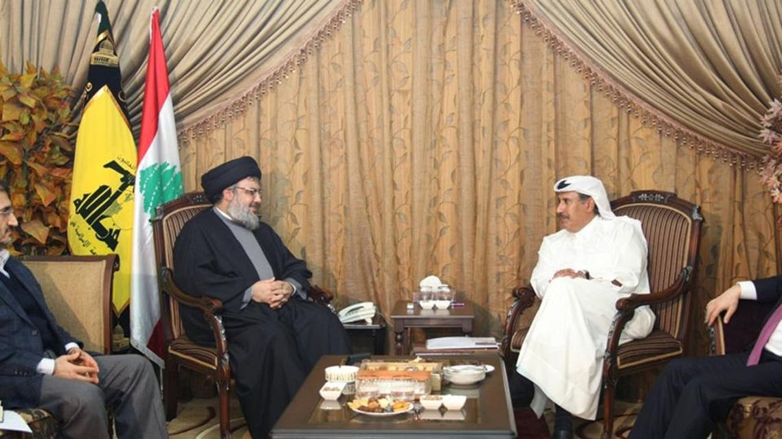 A handout picture released by Hezbollah's press office shows the Shiite Muslim group's Secretary General Hassan Nasrallah (2nd L) during a meeting with former Qatari Prime Minister Hamad bin Jasem in 2011. (File photo: AFP)
