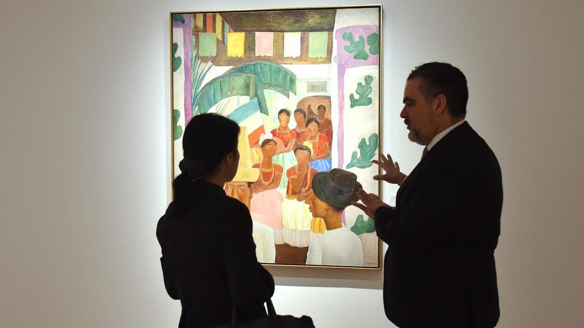 'The Rivals' by Diego Rivera is seen during a Christie's preview presenting the collection of Peggy and David Rockefeller, in New York on April 27, 2018. (AFP)