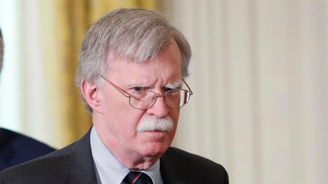 Bolton arrives for Trump-Merkel joint news conference at the White House in Washington. (Reuters)
