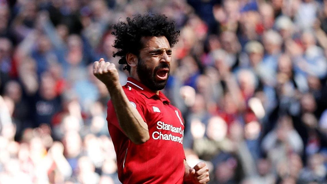 Liverpool's Mohamed Salah celebrates scoring their first goal against Brighton. (Reuters)