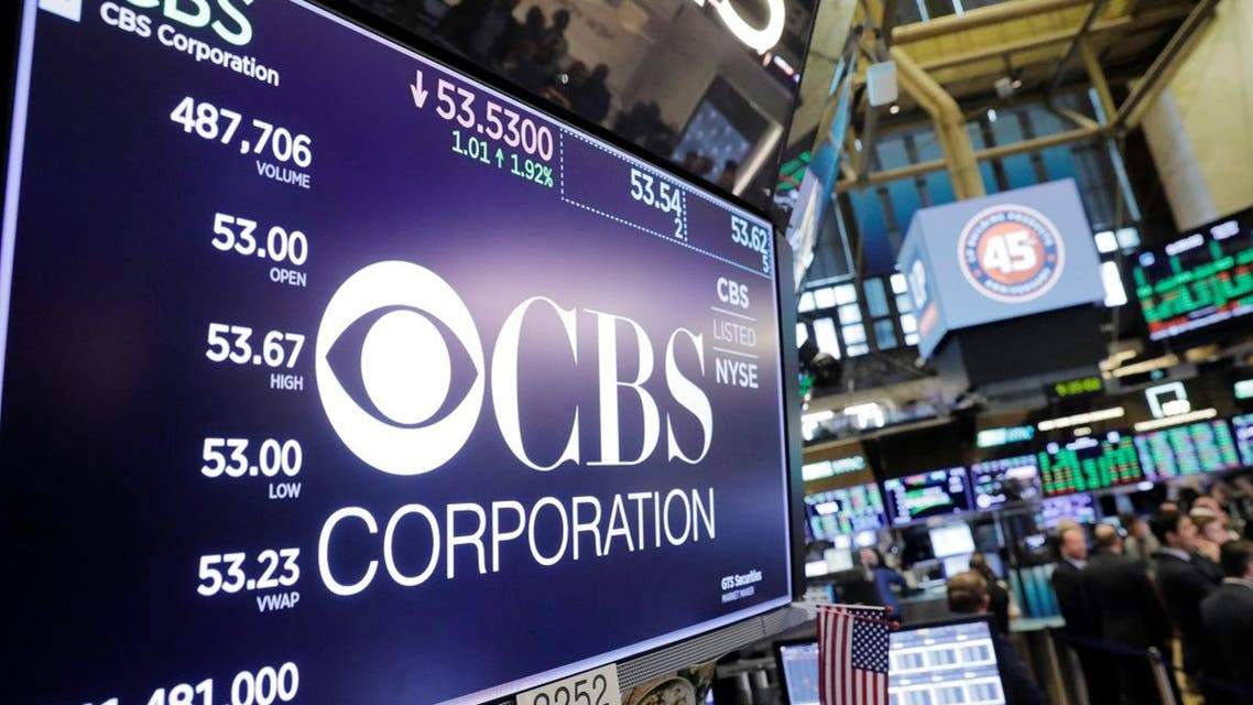 The CBS Corporation logo is displayed on the floor of the New York Stock Exchange shortly after the opening bell in New York. (Reuters)