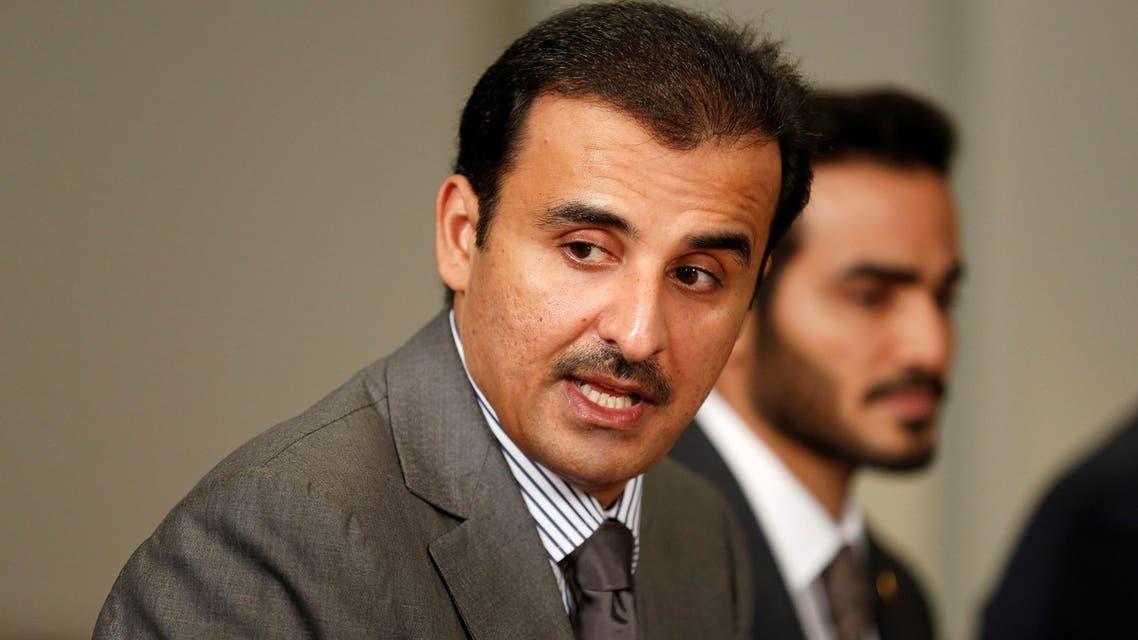 Qatari Emir Sheikh Tamim Bin Hamad Al-Thani during a meeting at the Pentagon in Washington on April 9, 2018. (Reuters)