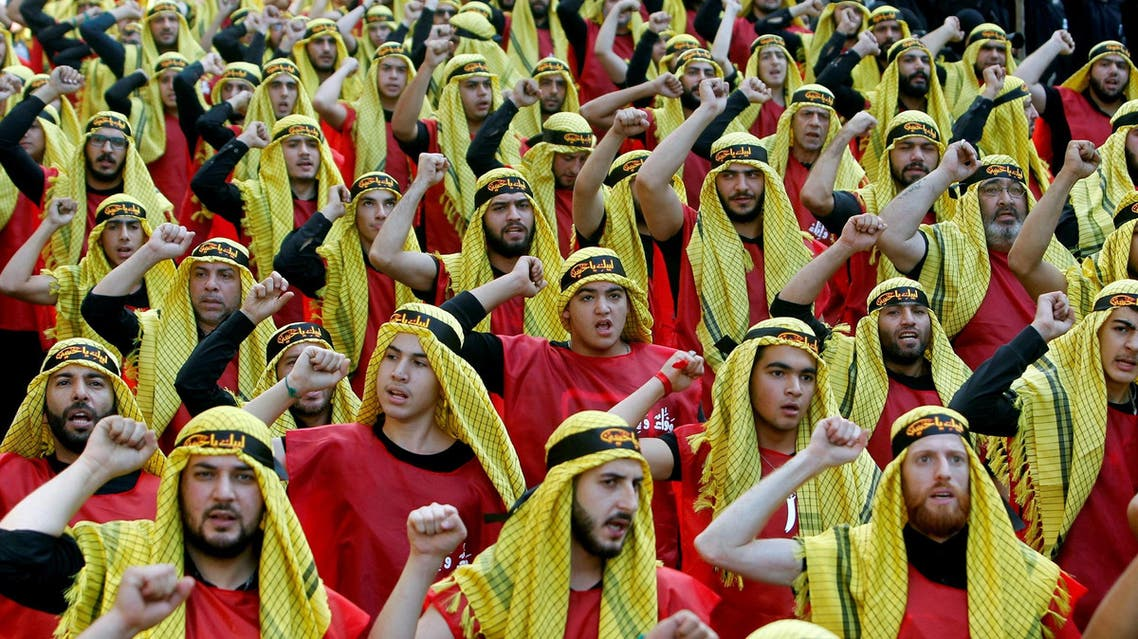 Supporters of Lebanon's Hezbollah parade to mark the last day of Ashura in Beirut on October 1, 2017. (Reuters)