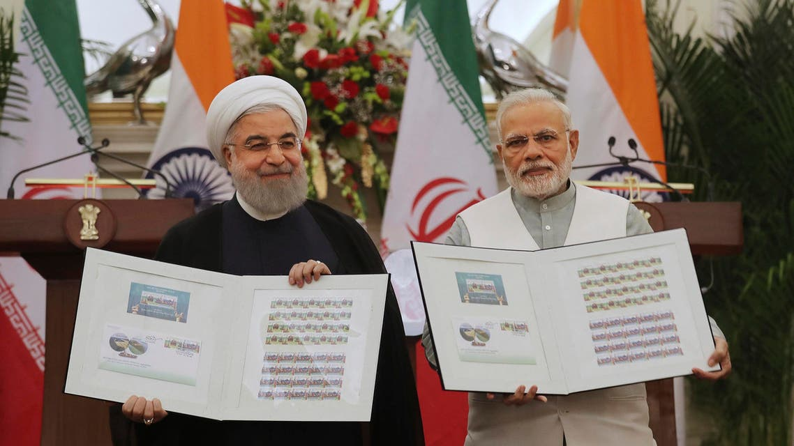 Indian Prime Minister Narendra Modi with Iranian President Hassan Rouhani in New Delhi on Feb. 17, 2018. (AP)
