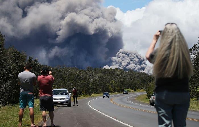 An ash plume rises from the Kilauea volcano on Hawaii's Big Island on May 15, 2018 in Volcano, Hawaii. (AP)