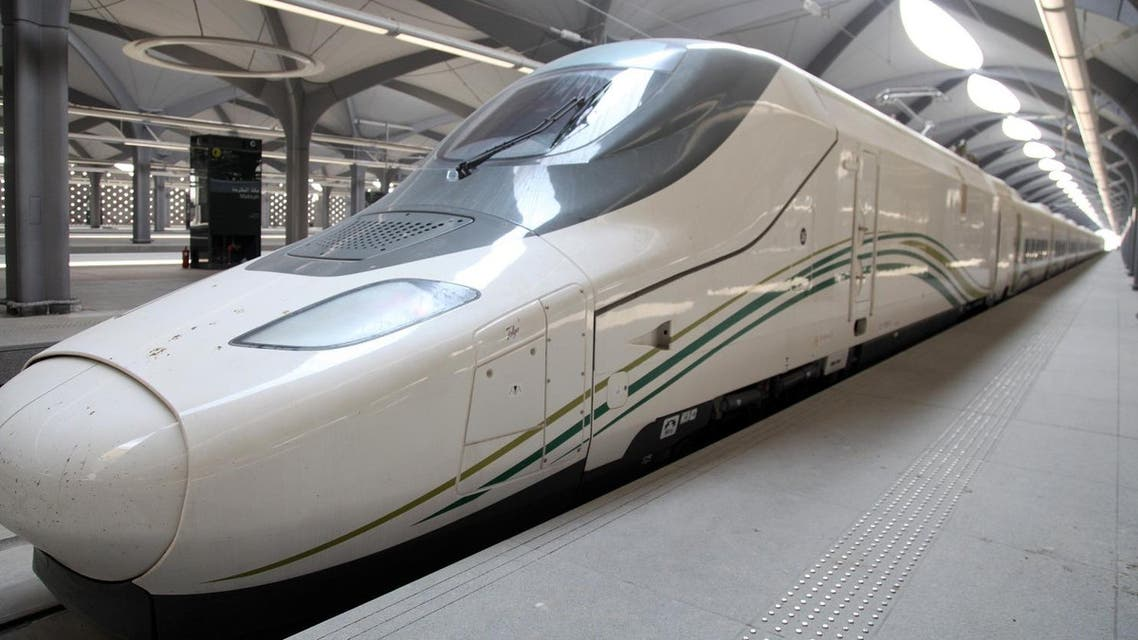 a high-speed train, that will link Mecca to Medina, parked at a station in Saudi Arabia's holy city of Mecca. (AFP)