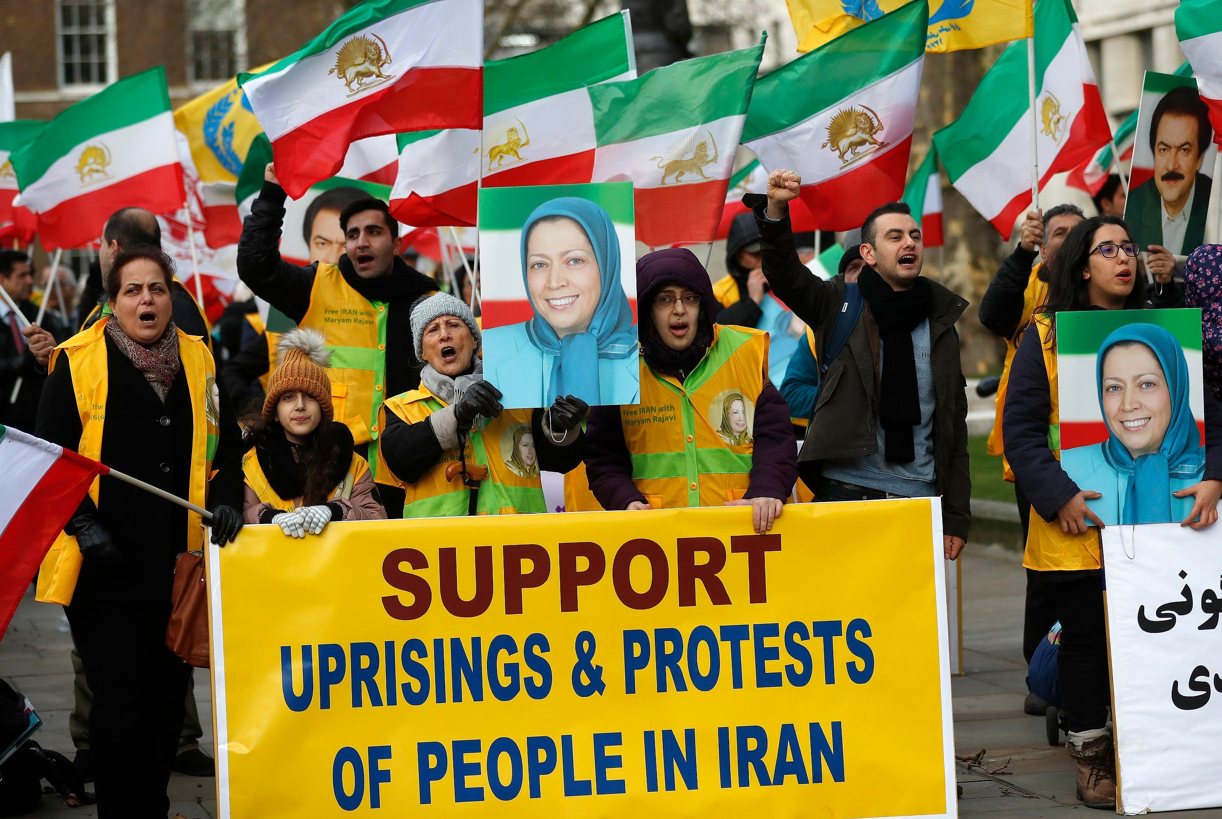 An opposition rally near 10 Downing Street in London on Jan. 4, 2018, in solidarity with the nationwide anti-regime protests in Iran. (AP)