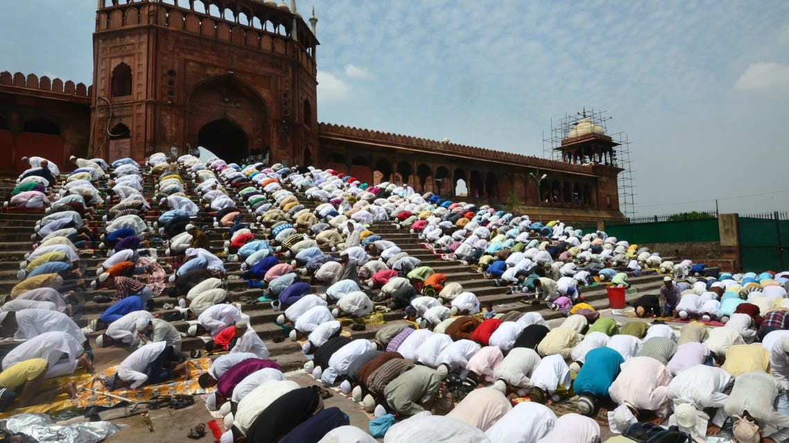 Indian Muslims offer prayers on the last Friday of Ramadan at the Jama Masjid mosque in New Delhi on June 23, 2017. (AFP)