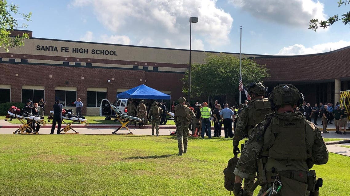 Law enforcement officers are responding to Santa Fe High School following a shooting incident in this Harris County Sheriff office, Santa Fe, Texas, U.S., photo released on May 18, 2018. Courtesy HCSO/Handout via REUTERS ATTENTION EDITORS - THIS IMAGE HAS BEEN SUPPLIED BY A THIRD PARTY.