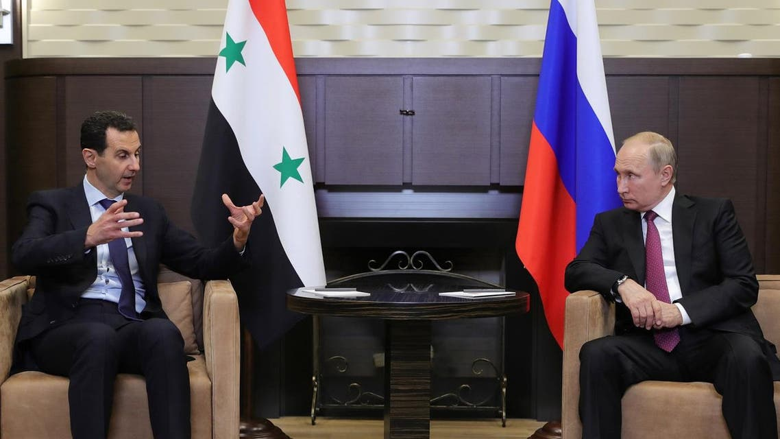 Russian President Vladimir Putin meets with Syrian President Bashar al-Assad in the Black Sea resort of Sochi, Russia May 17, 2018. Reuters