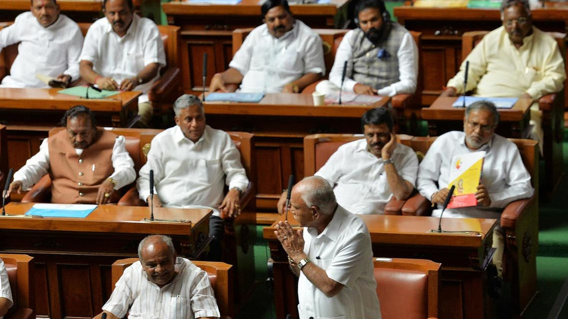 Chief Minister B.S. Yediyurappa of the Bharatiya Janata (BJP) party gestures after addressing the Karnataka State Legislative Assembly session before resigning from his post at Vidhana Soudha in Bangalore on May 19, 2018. (AFP)