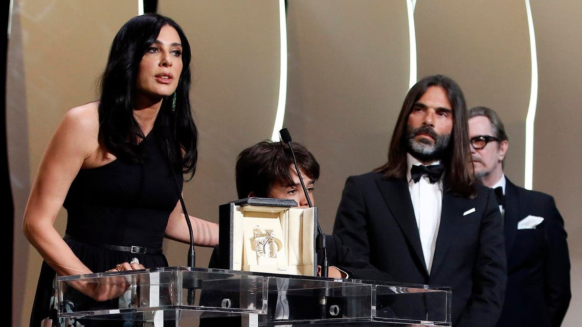 """71st Cannes Film Festival – Closing ceremony and screening of the film """"The Man Who Killed Don Quixote"""" out of competition – Cannes, France, May 19, 2018. Director Nadine Labaki gives a speech after receiving the Jury Prize award for her film """"Capernaum"""" (Capharnaum). REUTERS/Stephane Mahe"""