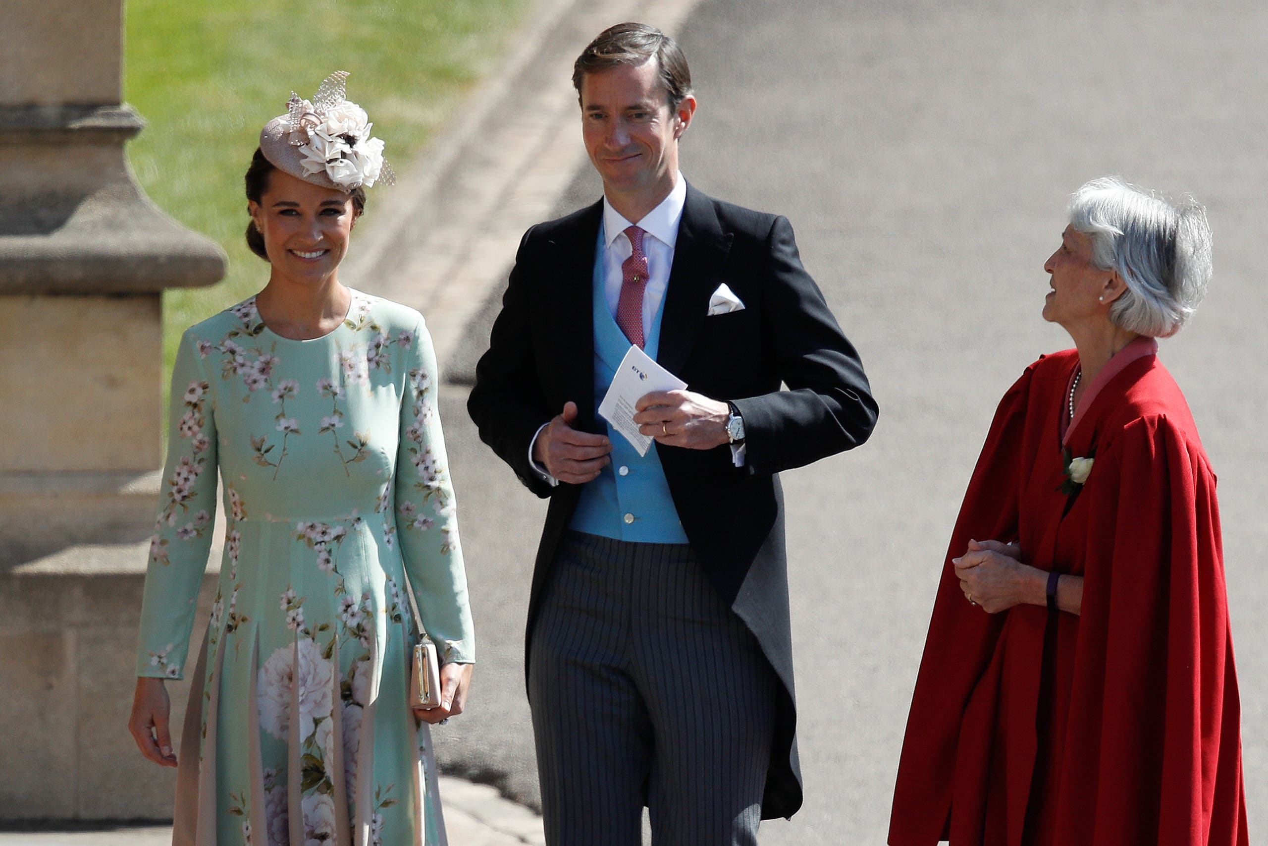 Pippa Middleton and her husband James Matthews arrive for the wedding ceremony of Britain's Prince Harry, Duke of Sussex and US actress Meghan Markle at St George's Chapel, Windsor Castle, in Windsor, Britain, May 19, 2018. Odd ANDERSEN/Pool via REUTERS