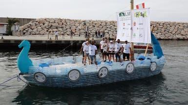 سفينة مصنوعة من 30 ألف عبوة بلاستيكية تجوب سواحل لبنان