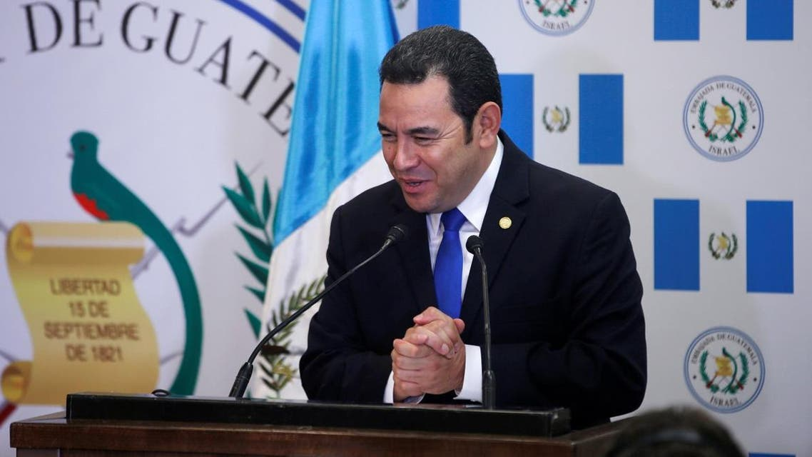 Guatemalan President Jimmy Morales gestures as he speaks during the dedication ceremony of the embassy of Guatemala in Jerusalem. (Reuters)