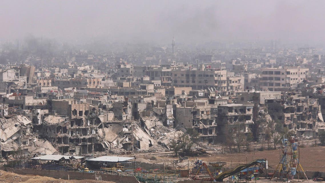 A general views show a part of the Yarmouk Palestinian camp in Damascus, Syria April 28, 2018. (Reuters)