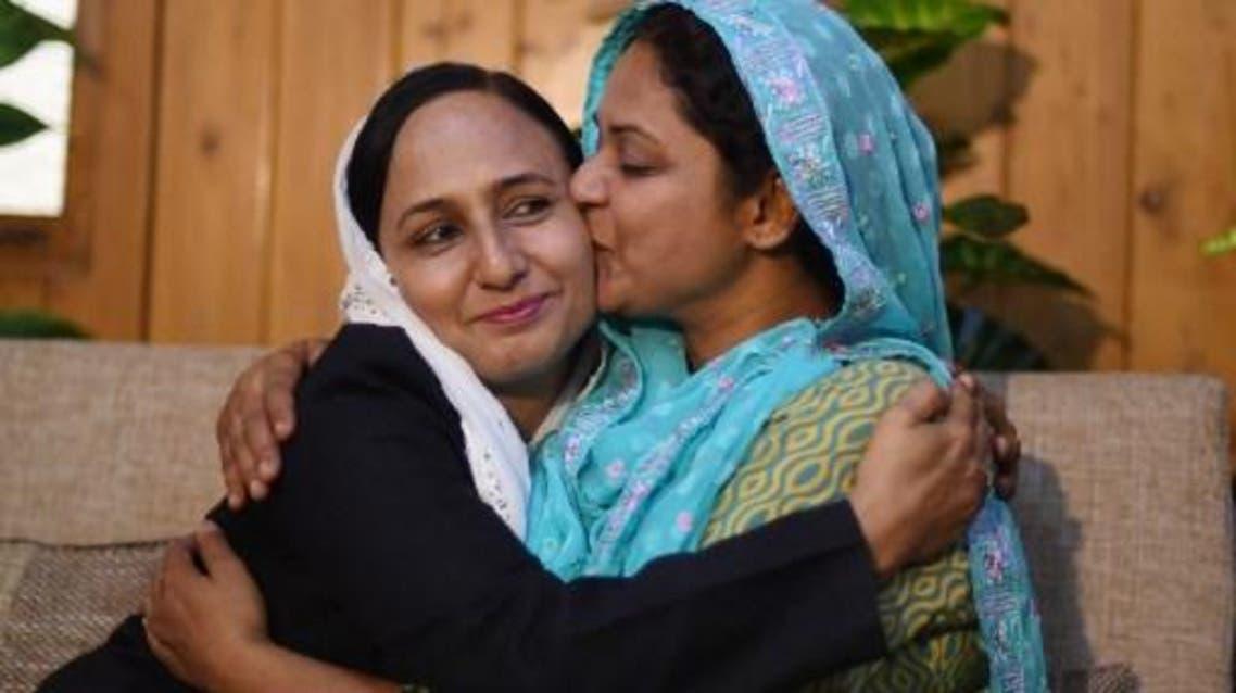 asma nawab in blue veil. (AFP)