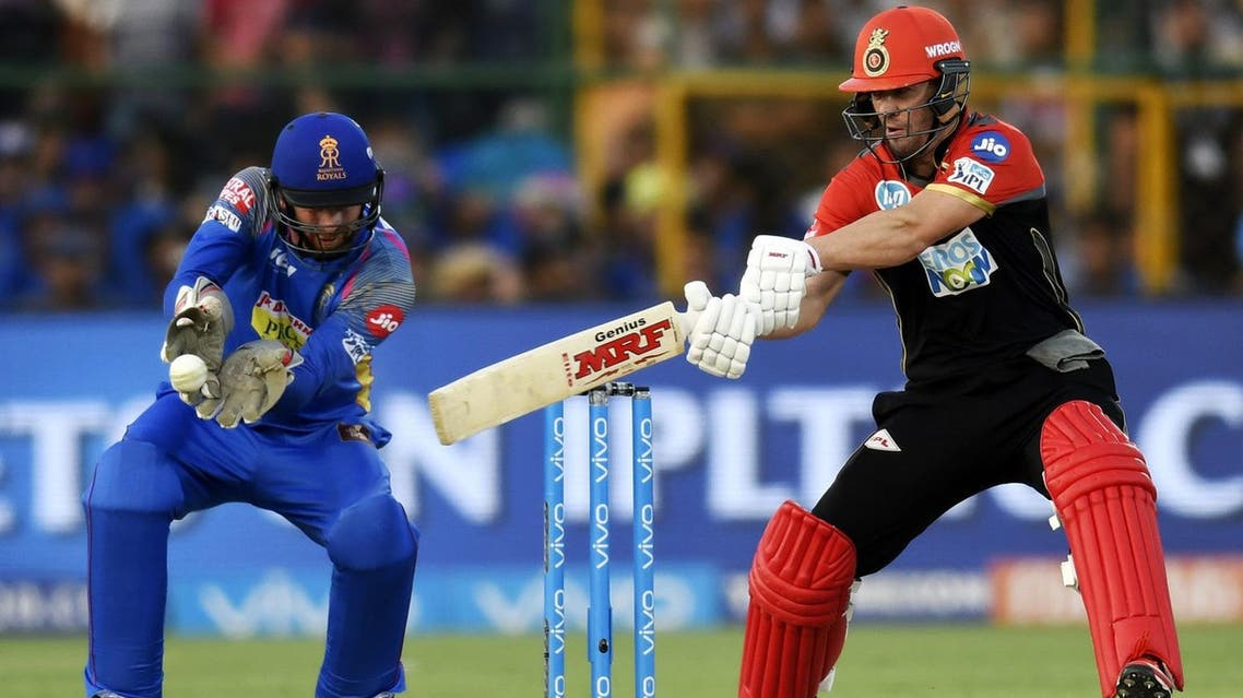 Royal Challengers Bangalore cricketer AB De Villiers plays a shot during the 2018 Indian Premier League (IPL) Twenty20 cricket match against Rajasthan Royals in Jaipur on May 19, 2018. (AFP)