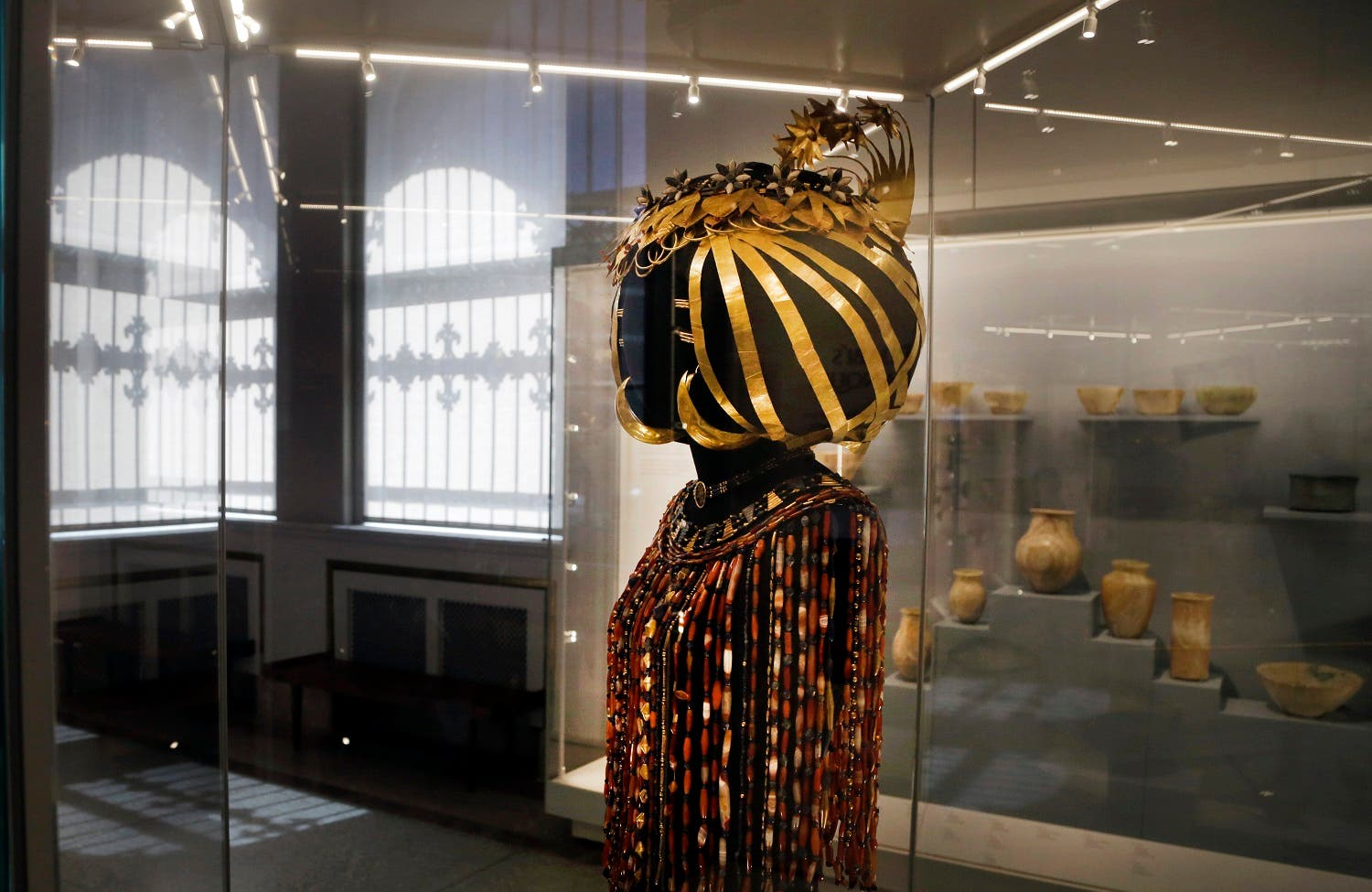 The headdress and jewelry of Queen Puabi dating to some 4,500 years ago, is displayed at the Middle East gallery in the Penn Museum in Philadelphia. (AP)