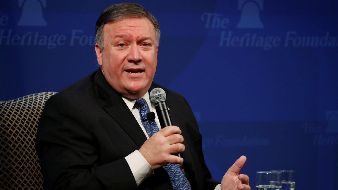 Mike Pompeo delivers remarks on the Trump administration's Iran policy at the Heritage Foundation in Washington on May 21, 2018. (Reuters)