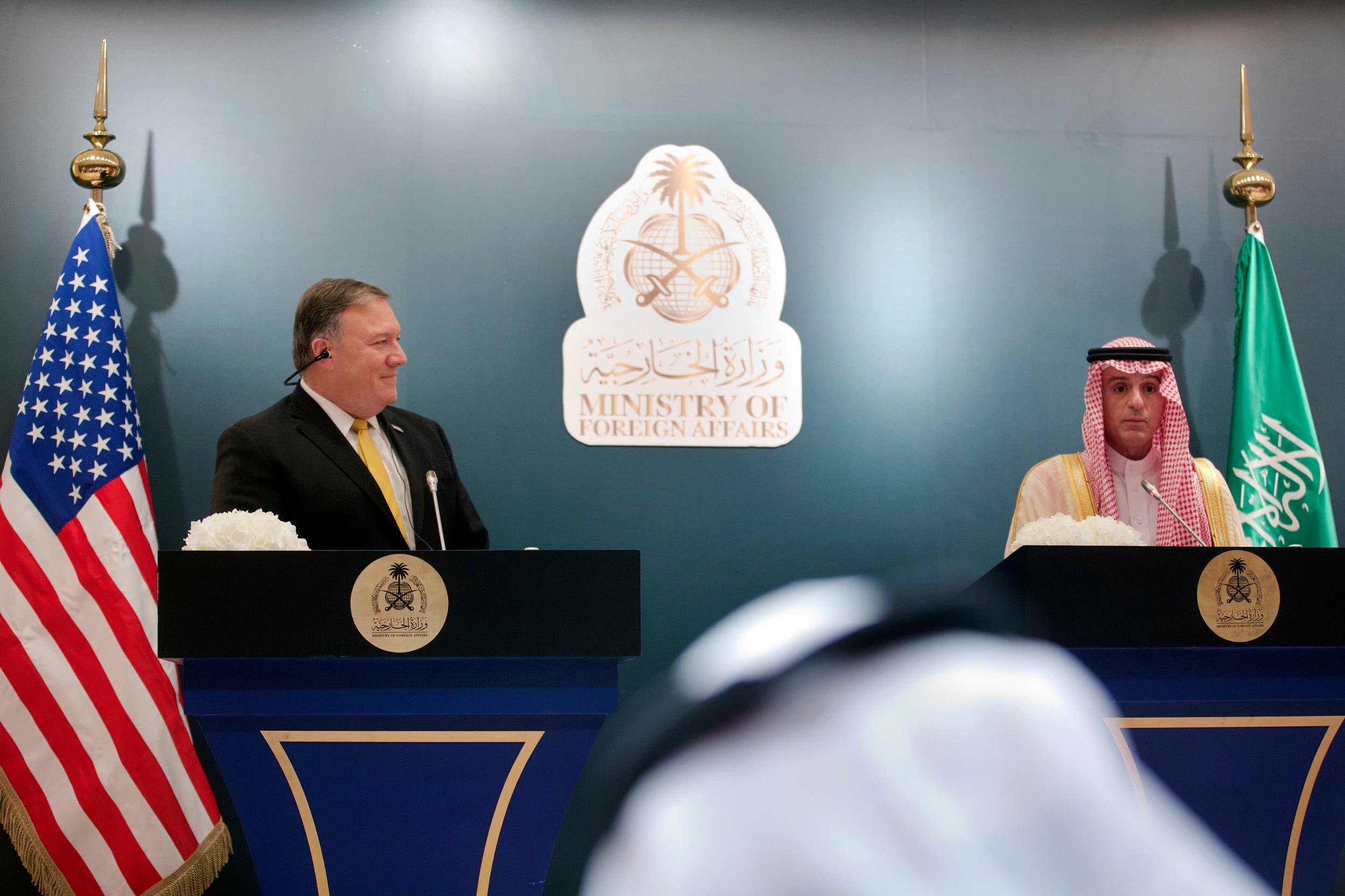 Mike Pompeo and Saudi Arabia's Foreign Minister Adel al-Jubeir during a press conference in Riyadh on April 29, 2018. (AP)