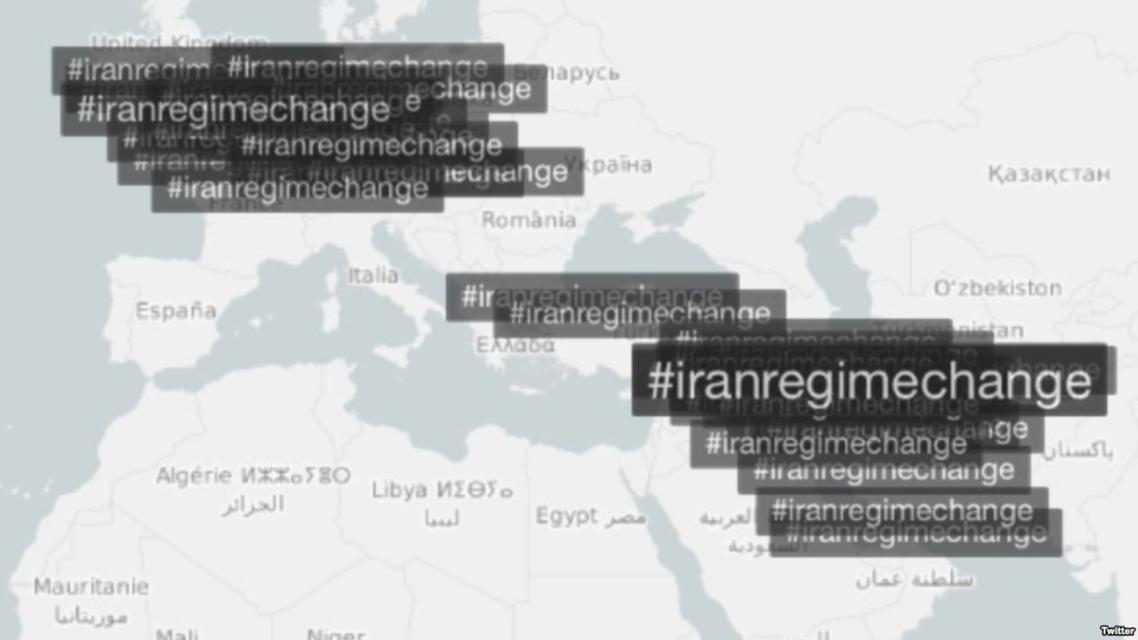 انتشار  هاشتاغ تغيير نظام ايران عبر مواقع التواصل حول العالم