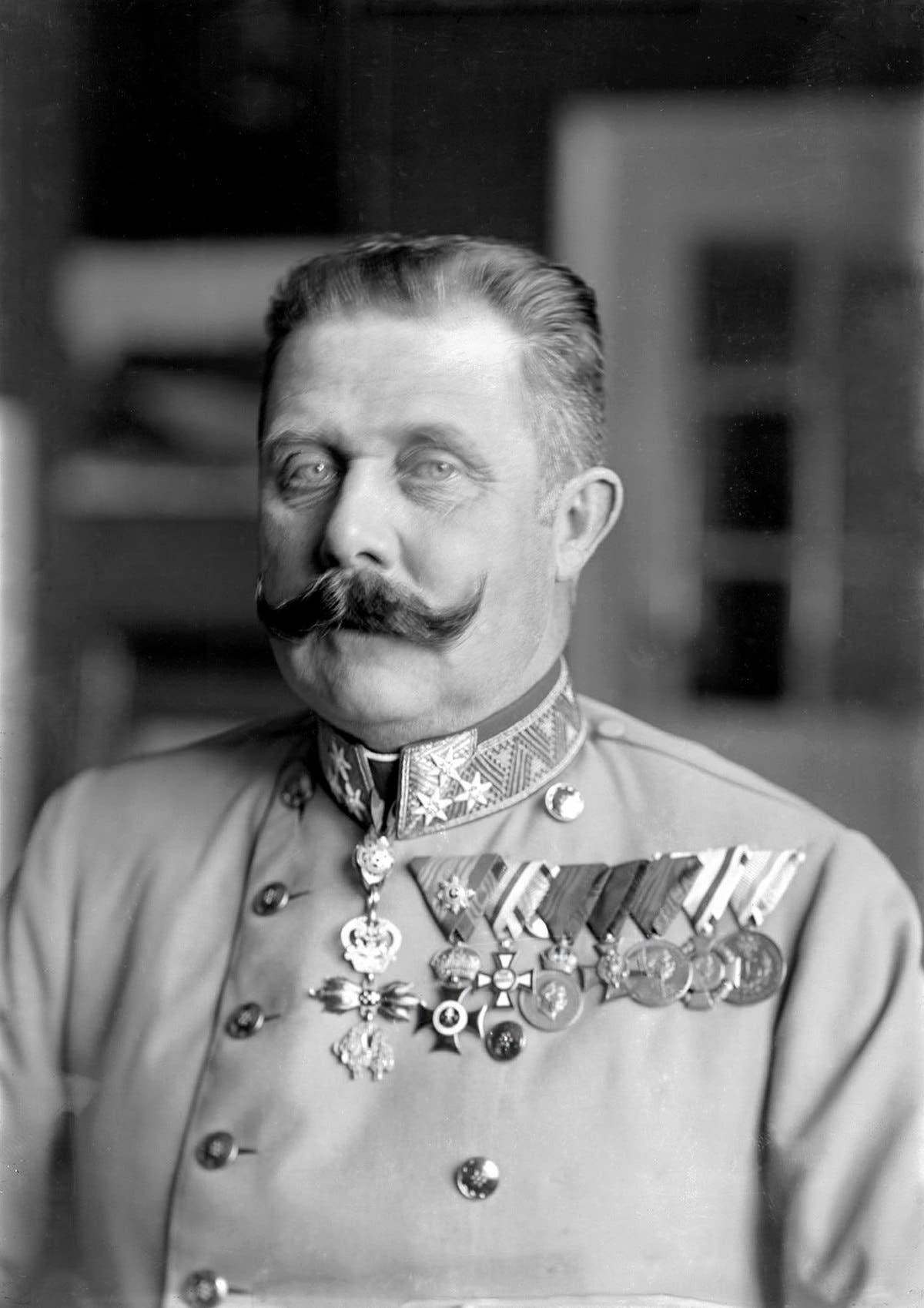 صورة لولي عهد النمسا فرانز فرديناند والذي تسببت عملية اغتياله في اندلاع الحرب العالمية الأولى