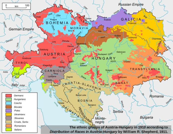 خريطة توضح توزع العرقيات داخل إمبراطورية النمسا - المجر سنة 1910