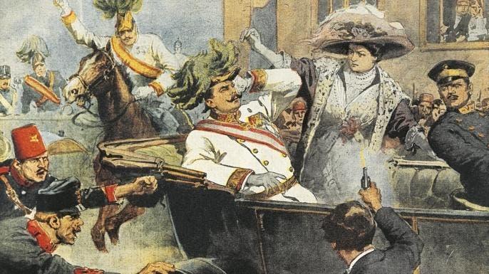 لوحة زيتية تجسد عملية اغتيال ولي عهد النمسا وزوجته