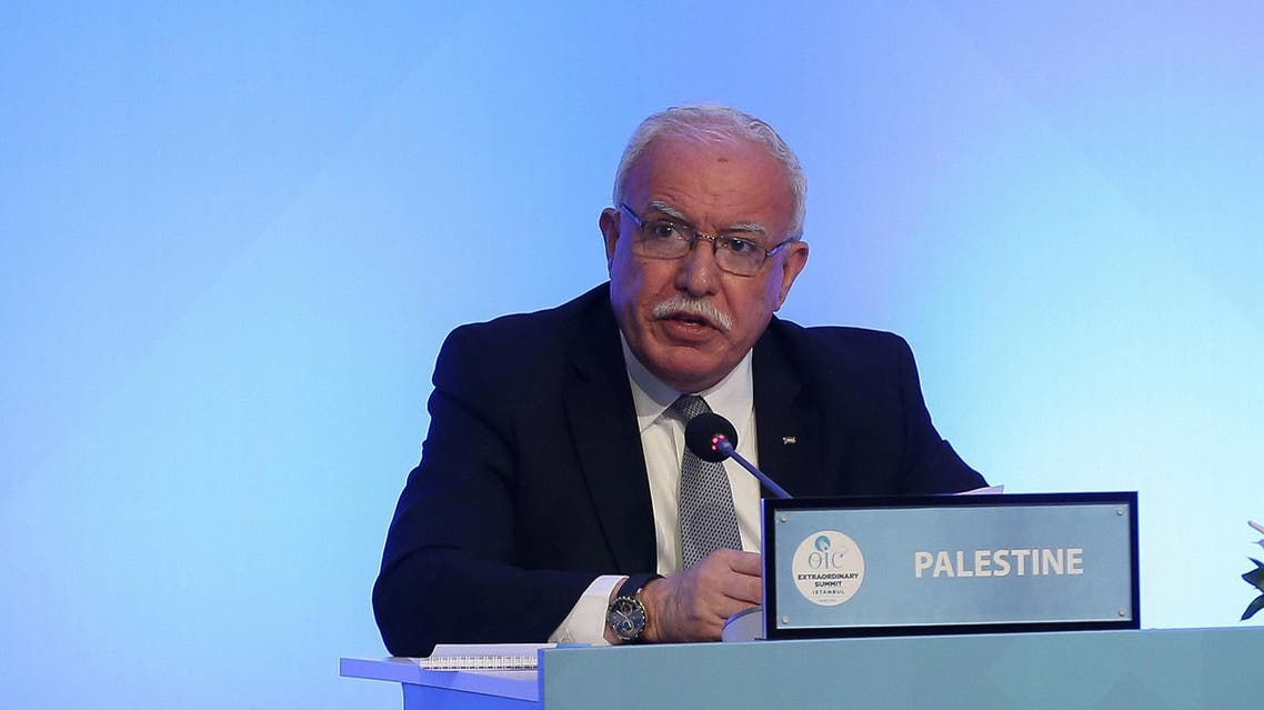 Riyad al-Maliki speaks during a meeting of the OIC Foreign Ministers Council in Istanbul on May 18, 2018. (Reuters)