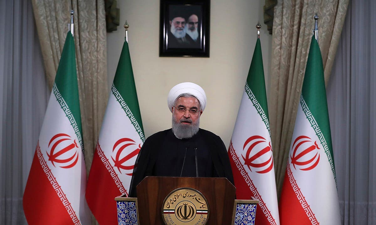 Rouhani addresses the nation in a televised speech in Tehran, Iran. (AP)