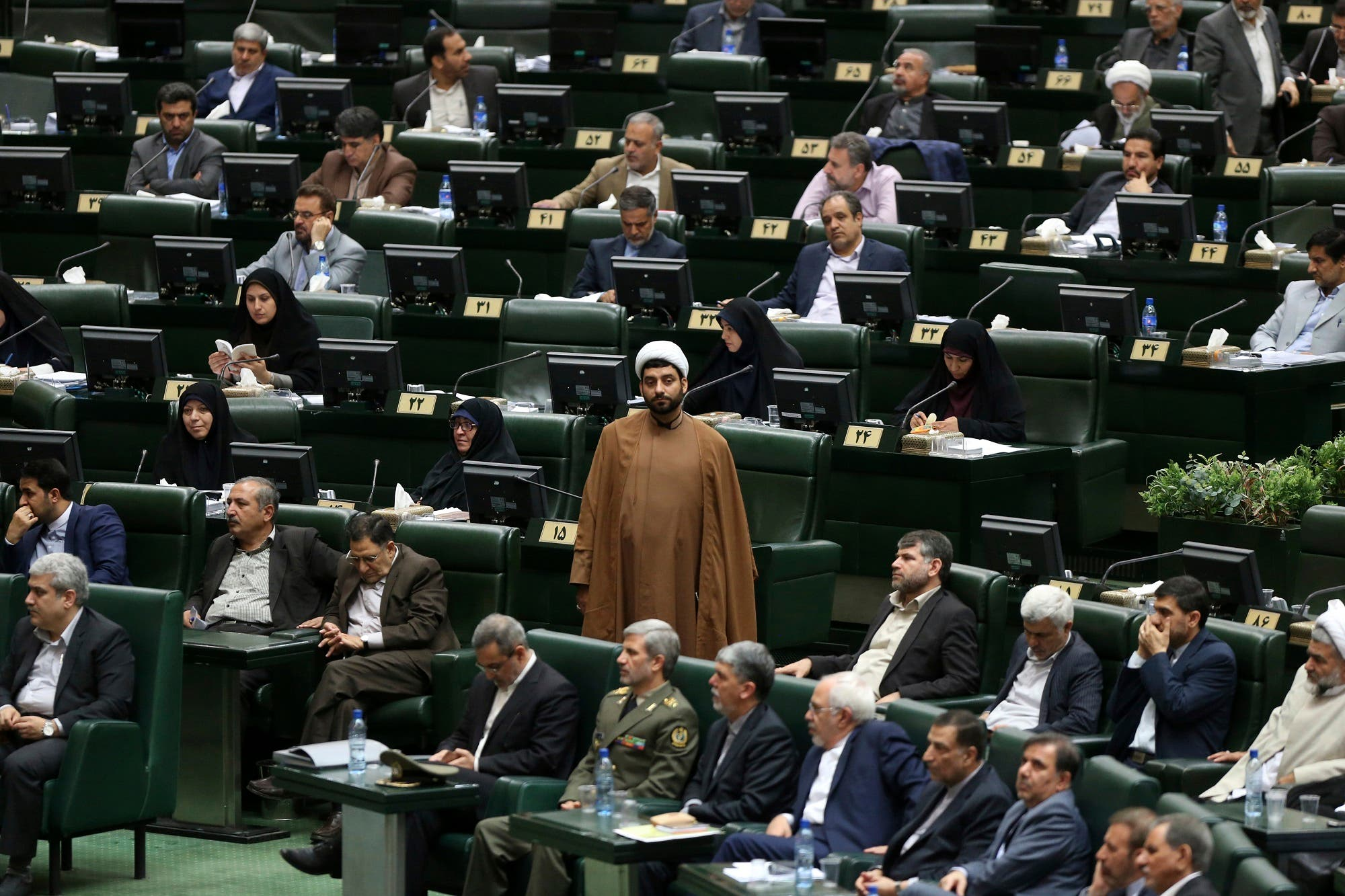 Iranian cleric lawmaker Ahad Azadikhah, center, during a session of parliament in Tehran, on Aug. 15, 2017. (AP)
