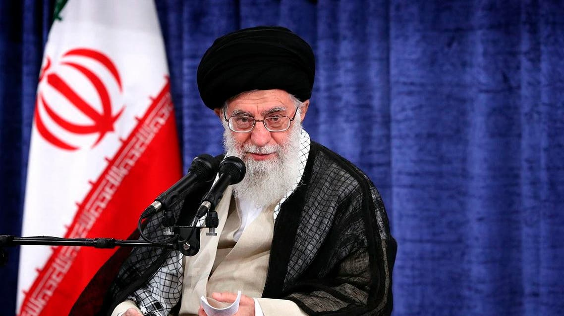 Ayatollah Ali Khamenei speaks during a meeting with government officials in Tehran. (AP)