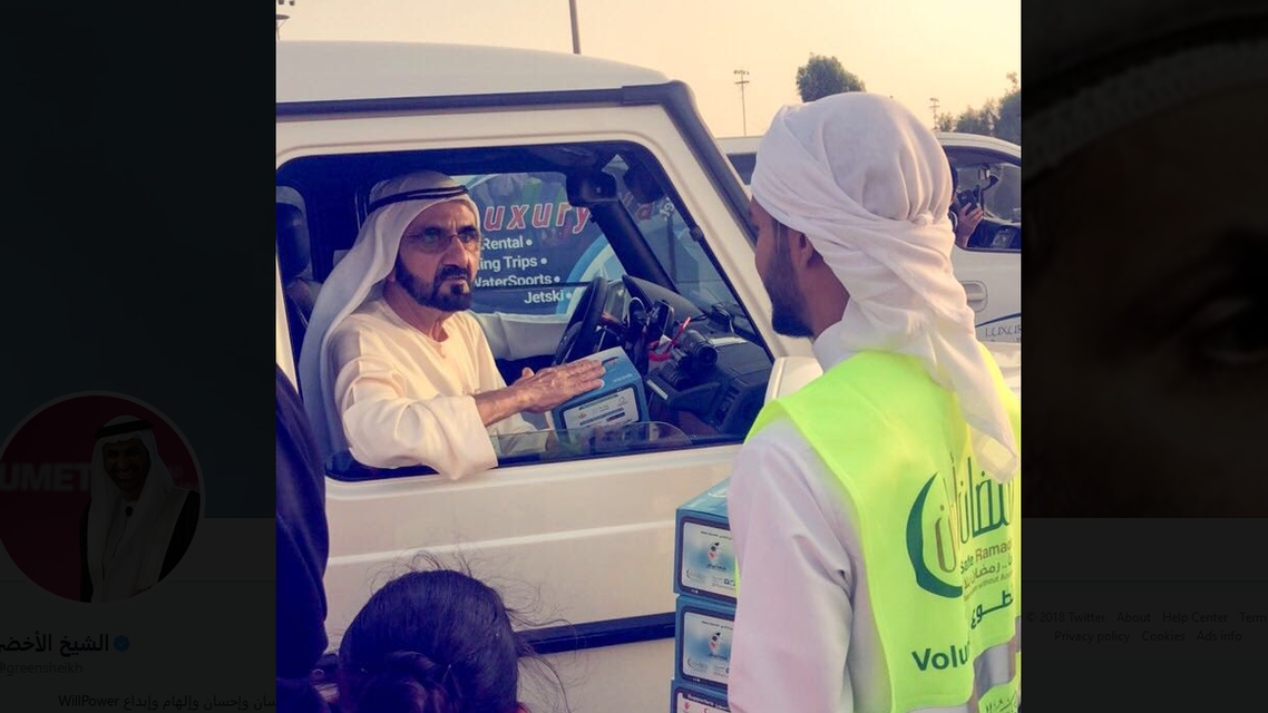 A video of the moment made rounds on social media, showing Sheikh Mohammad greeting the volunteers.