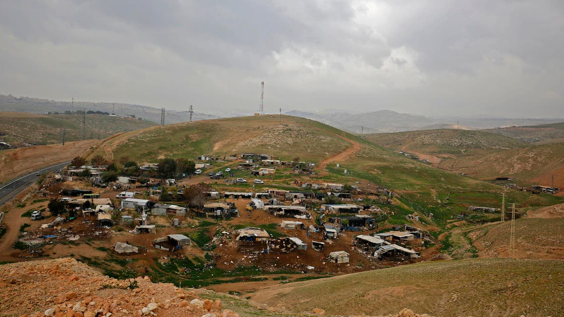 A picture shows the Palestinian Bedouin village of Khan al-Ahmar, in the Israeli-occupied West Bank,