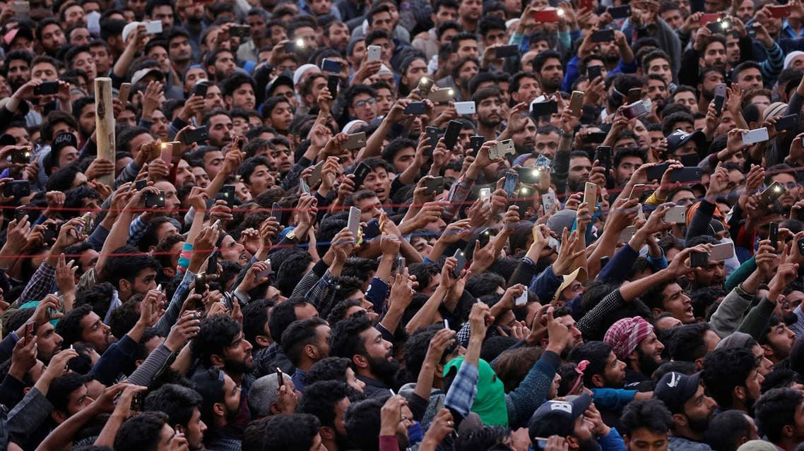 Funeral procession of a suspected militant killed in a gunbattle with Indian security forces in Ganderbal district of Kashmir on May 6, 2018. (Reuters)