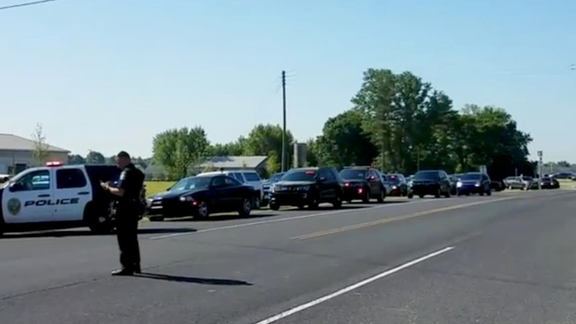 Police is seen near Noblesville West Middle School in Noblesville, Indiana, U.S., May 25, 2018 in this still image obtained from social media video. COURTESY CHRISTOPHER REILY/via REUTERS ATTENTION EDITORS - THIS IMAGE HAS BEEN SUPPLIED BY A THIRD PARTY. MANDATORY CREDIT. NO RESALES. NO ARCHIVES