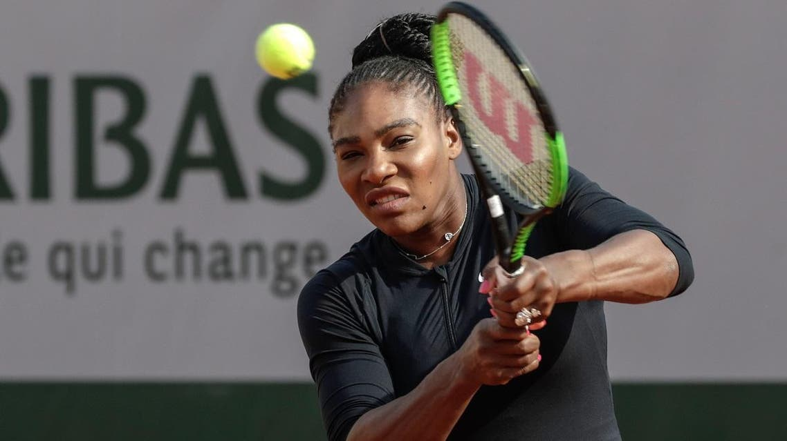 Serena Williams returns a shot during a training session at the Roland Garros stadium. (AFP)
