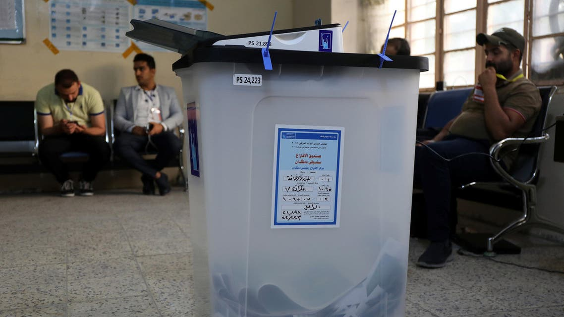 A ballot box is seen after voting ended at a polling station during the parliamentary election in Baghdad, Iraq May 12, 2018. REUTERS/Marius Bosch
