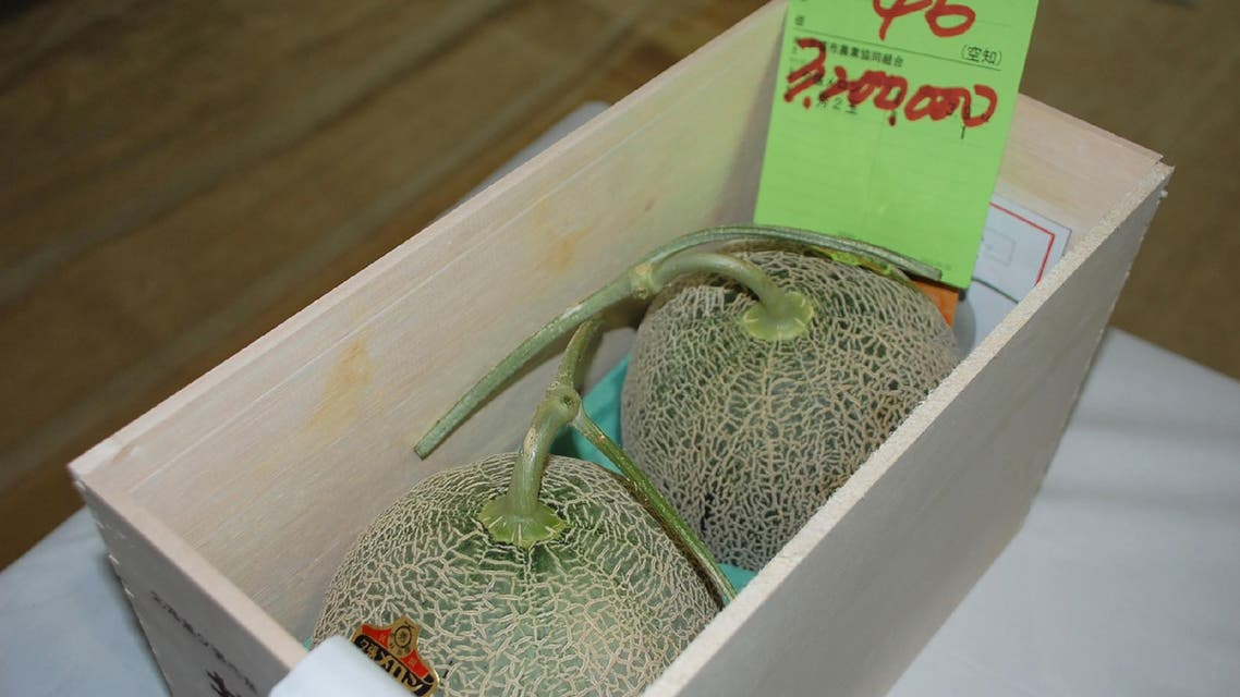 A pair of Yubari melons, that fetched a record $29,300 at an auction, are seen in Japan where the produce can be a huge status symbol. (AFP)