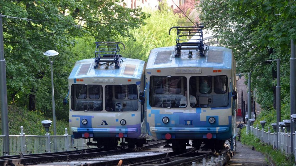 Trams of the Kiev funicular. Kiev Ukraine. May 2,2018 (Shutterstock)