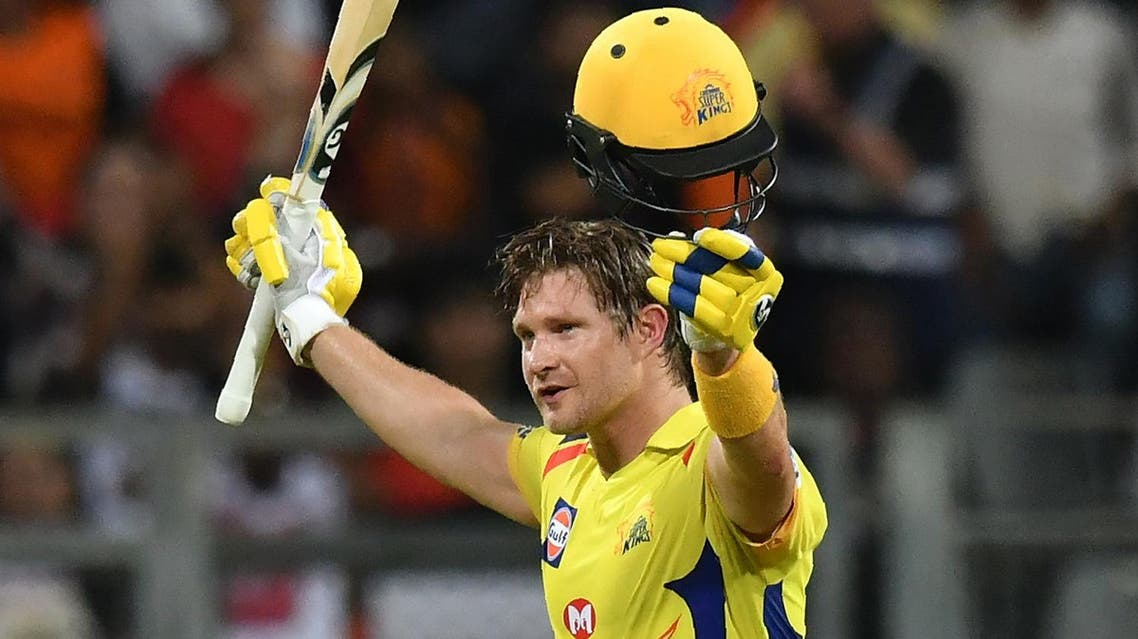 Chennai Super Kings' Shane Watson celebrates after scoring a century (100 runs) during the 2018 IPL Twenty20 final against Sunrisers Hyderabad at the Wankhede stadium in Mumbai on May 27, 2018. (AFP)