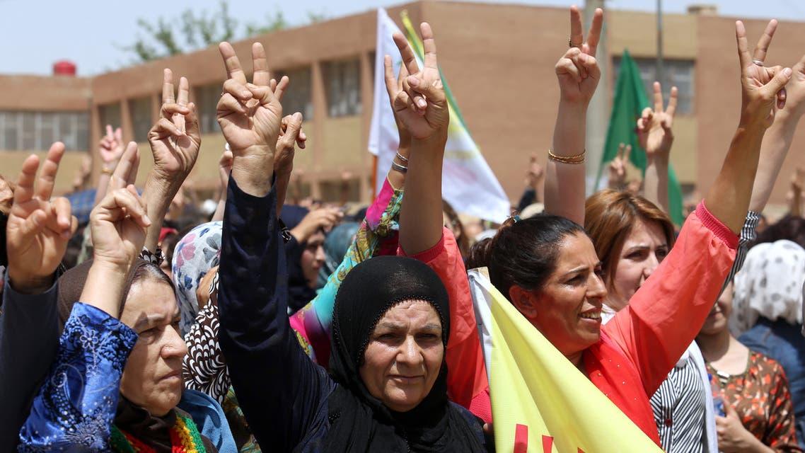 القامشلي.. مظاهرات مناهضة للدور التركي في عفرين