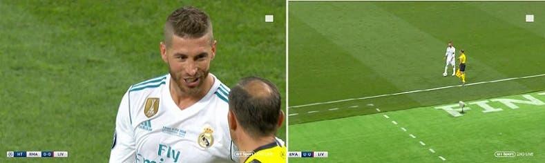 راموس، ضاحكا يتحدث إلى مساعد الحكم لحظة نقل محمد صلاح من الملعب