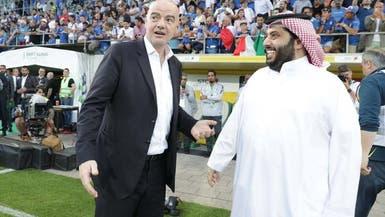 آل الشيخ يلتقي إنفانتينو قبل انطلاق ودية إيطاليا
