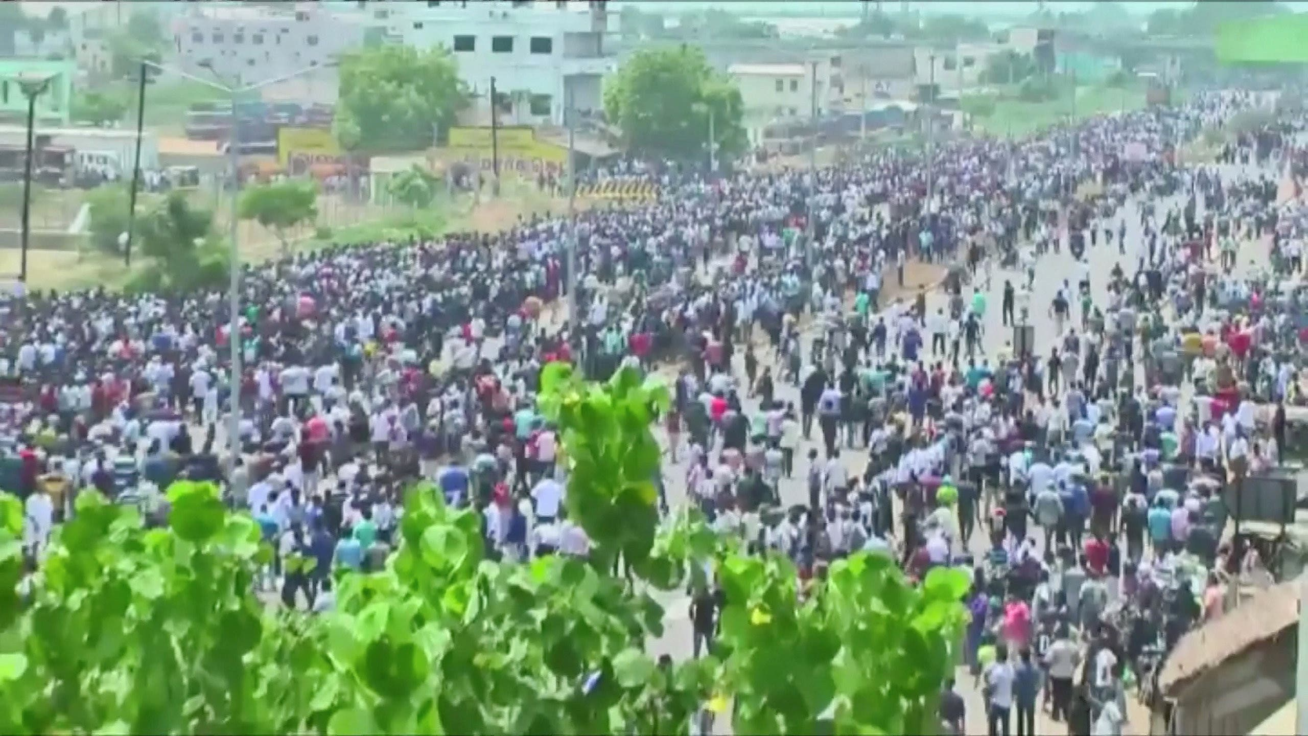 View of people protesting against the construction in this still image from May 22, 2018 video footage. (Reuters)