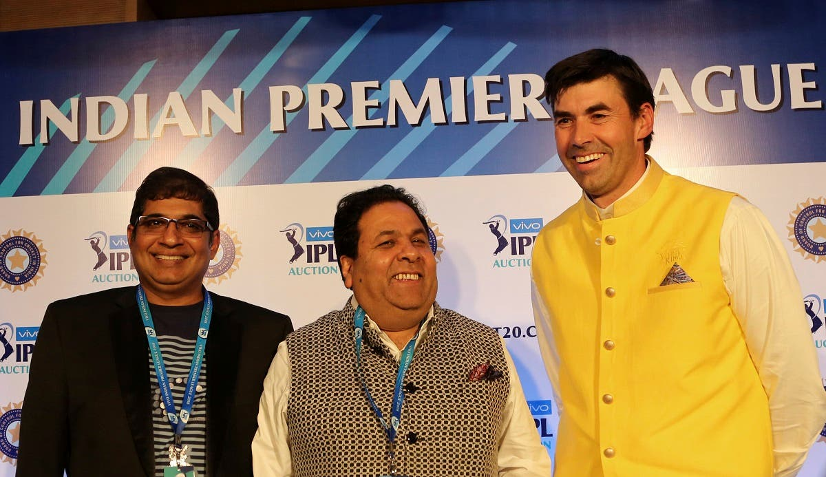 Royal Challengers Bangalore team Chairman Amrit Thomas, left, IPL Chairman Rajeev Shukla, center, and former New Zealand cricketer and Chennai Super Kings team coach Stephen Fleming pose after attending a press conference on the first day of the Indian Premier League (IPL) player auction in Bangalore, India. (AP)