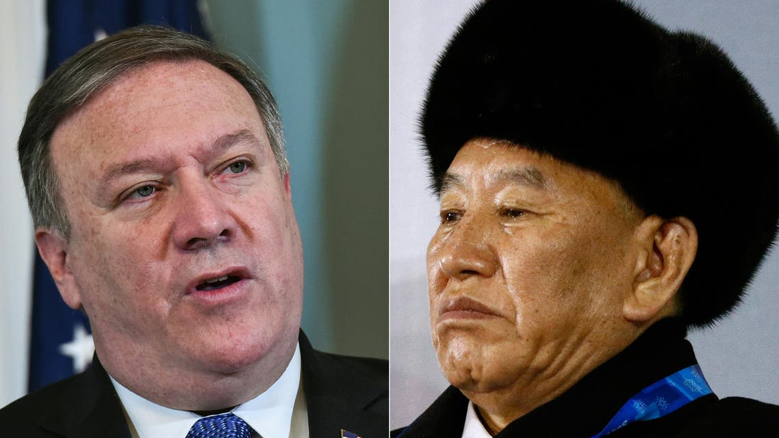 (COMBO) This combination of file pictures created on May 29, 2018, shows US Secretary of State Mike Pompeo (L) in Washington, DC on May 29, 2018; and Vice Chairman of North Korea's ruling Workers' Party Central Committee Kim Yong Chol in Pyeongchang on February 25, 2018.